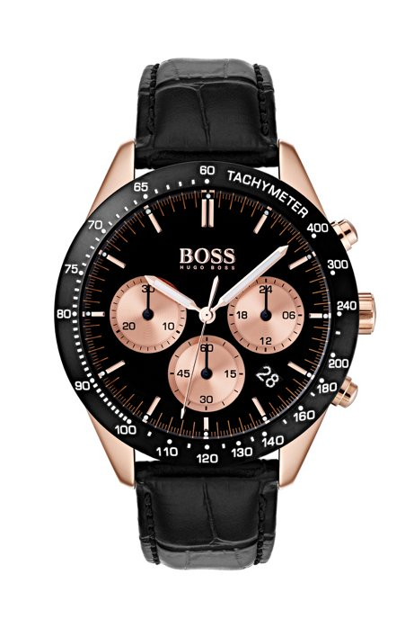 Chronograph watch with black and rose-gold plating, Assorted-Pre-Pack