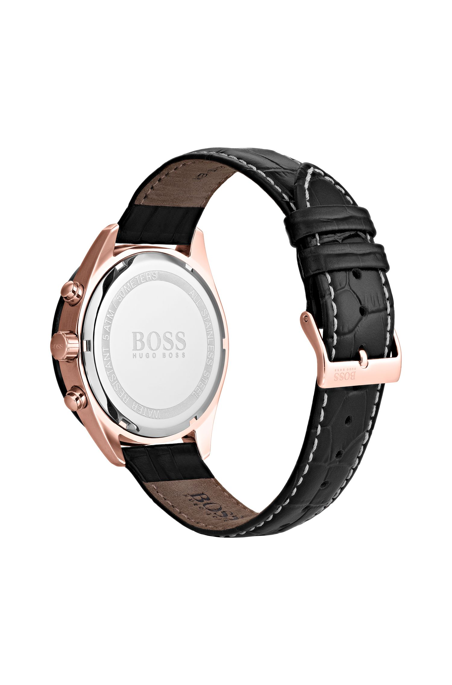 Montre chronographe au plaquage noir et or rose, Assorted-Pre-Pack
