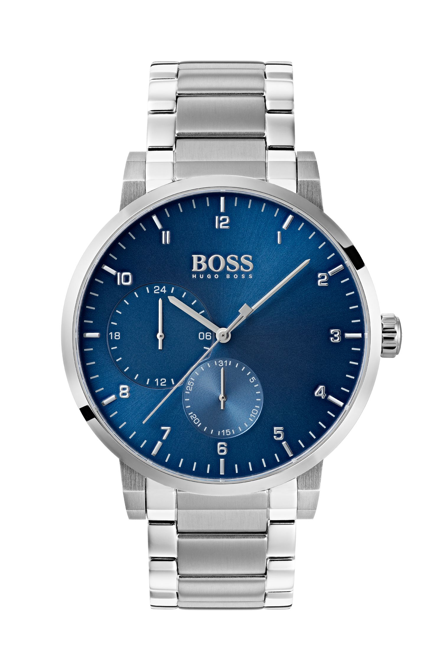Stainless-steel watch with blue dial and link strap