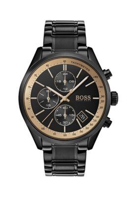 Sportive Armbanduhr aus schwarzem Edelstahl mit kontrastfarbenem Tachymeter, Assorted-Pre-Pack