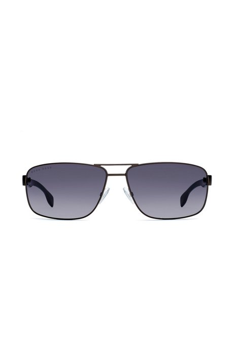 Grey rectangular sunglasses with raised metallic logo, Black