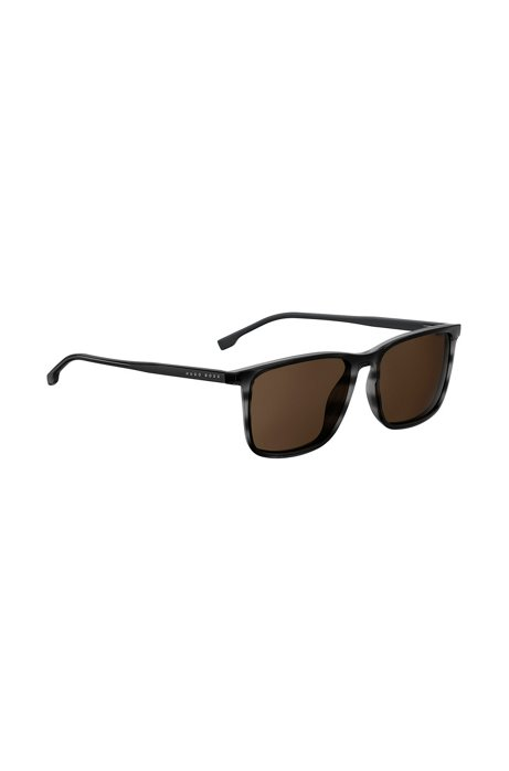 Rectangular sunglasses with grey horn Optyl frames, Black