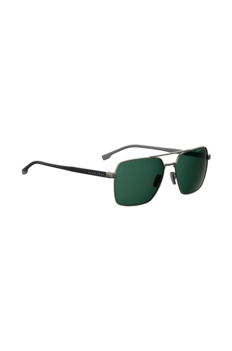 Navigator sunglasses with green lenses and Optyl temples, Black