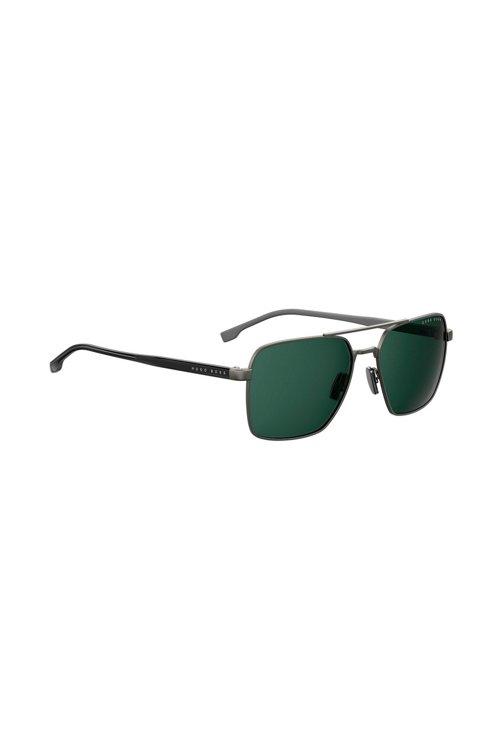 Hugo Boss - Navigator sunglasses with green lenses and Optyl temples - 1