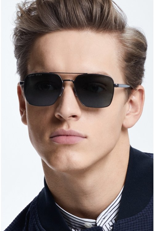 Hugo Boss - Navigator sunglasses with green lenses and Optyl temples - 2