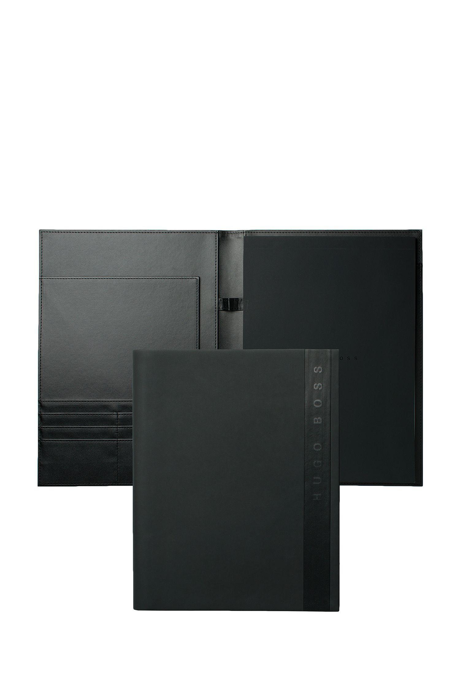 Porte-documentsA4 en similicuir noir, Noir