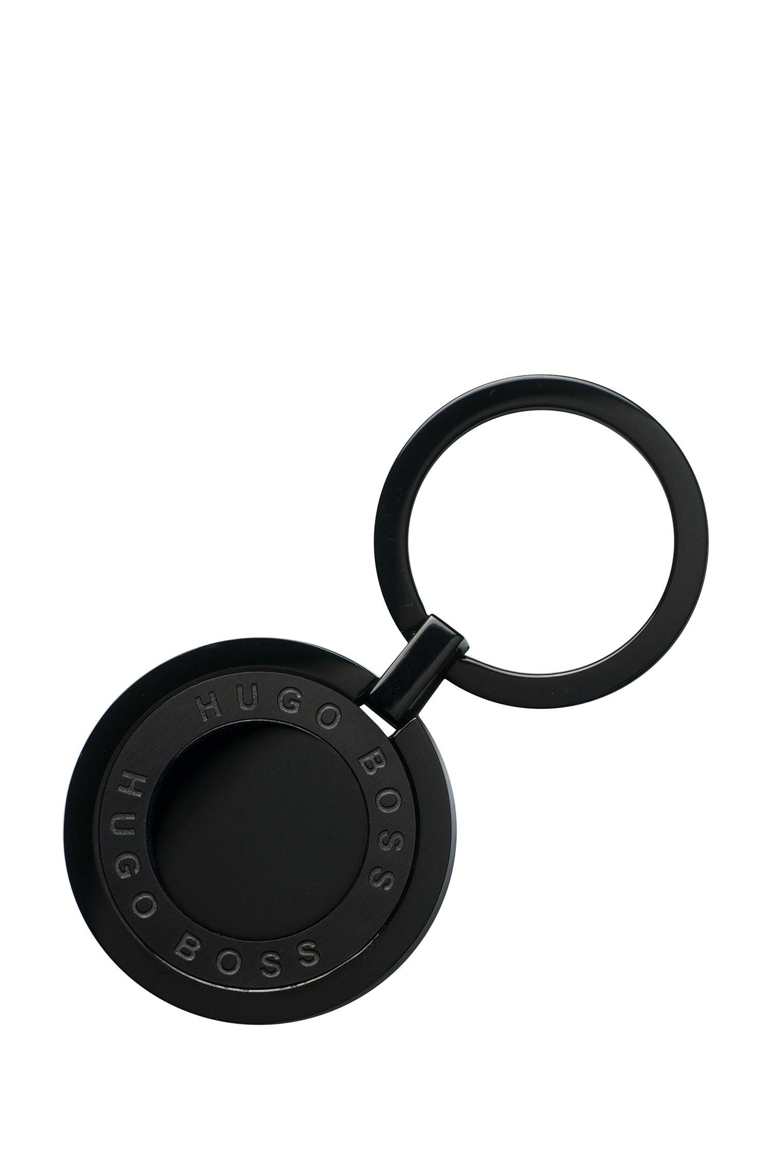 Runder Schlüsselanhänger aus beschichtetem Edelstahl, Schwarz