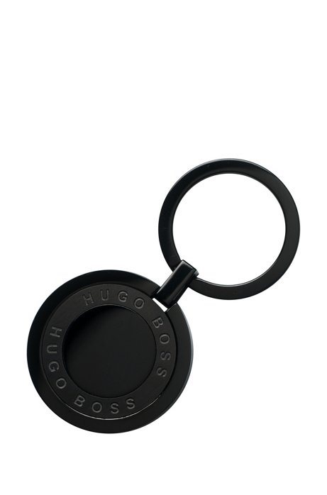 Round key ring in black-plated stainless steel, Black
