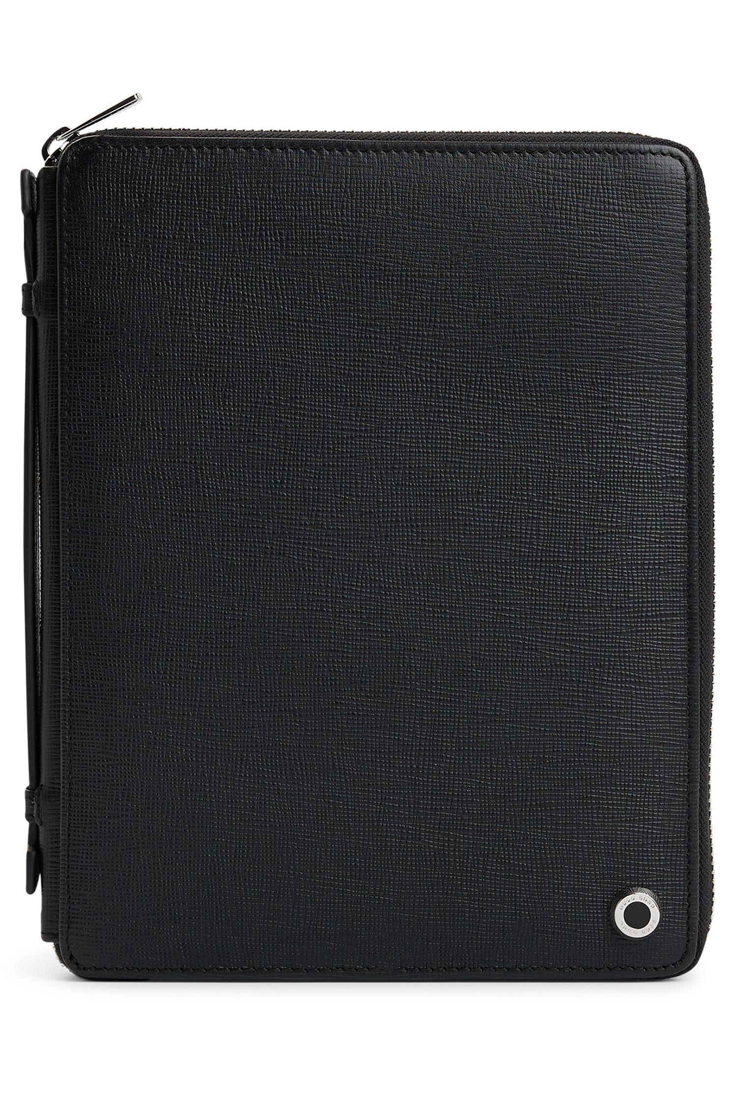 Étui en cuir noir au formatA5 avec carnet de 40pages, Noir