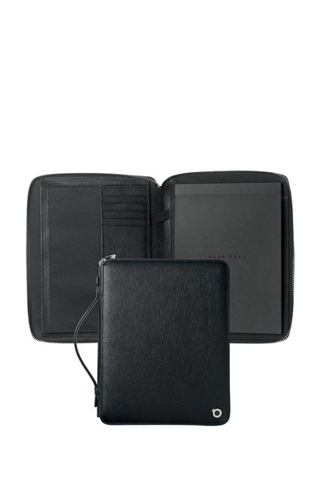 A5 conference folder in black textured leather, Black
