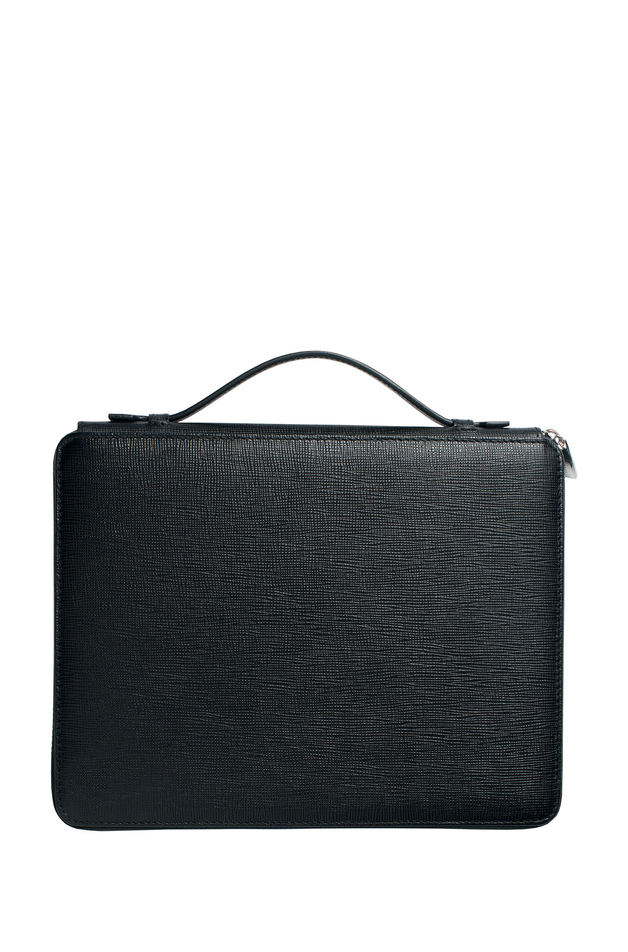 A5 conference folder in black textured leather
