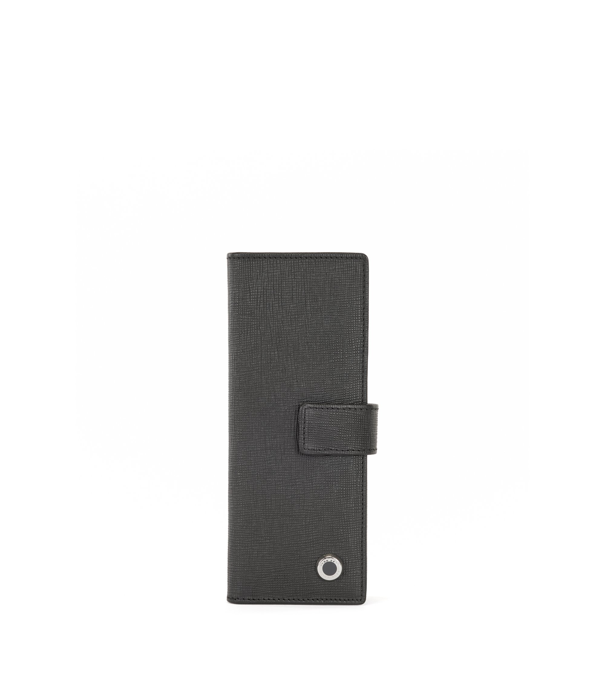 Leather pen case with hardware detail, Black
