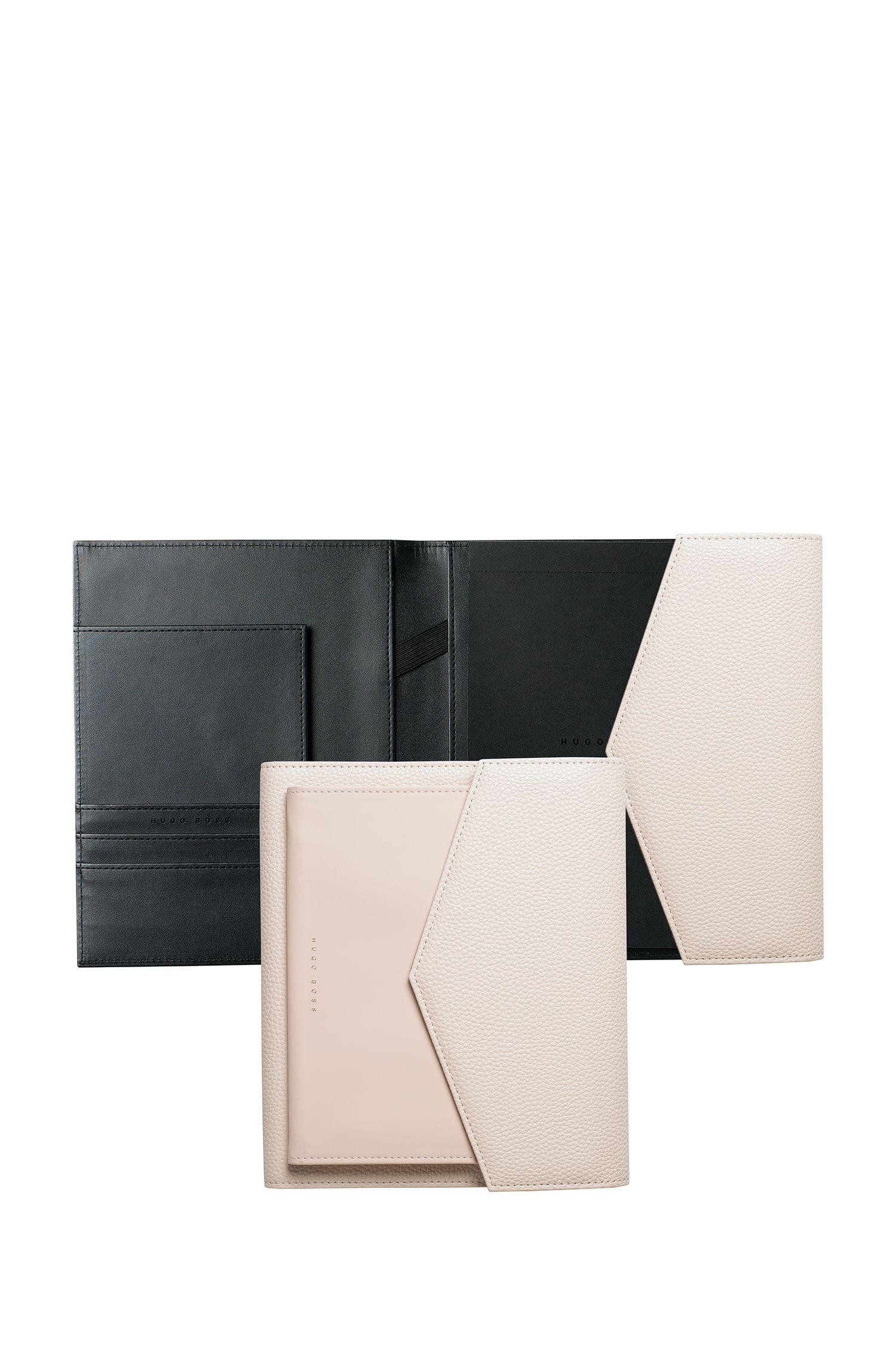 Porte-documentsA5 en similicuir blanc cassé, Noir