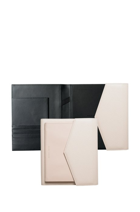 A5 folder in off-white faux leather, Black