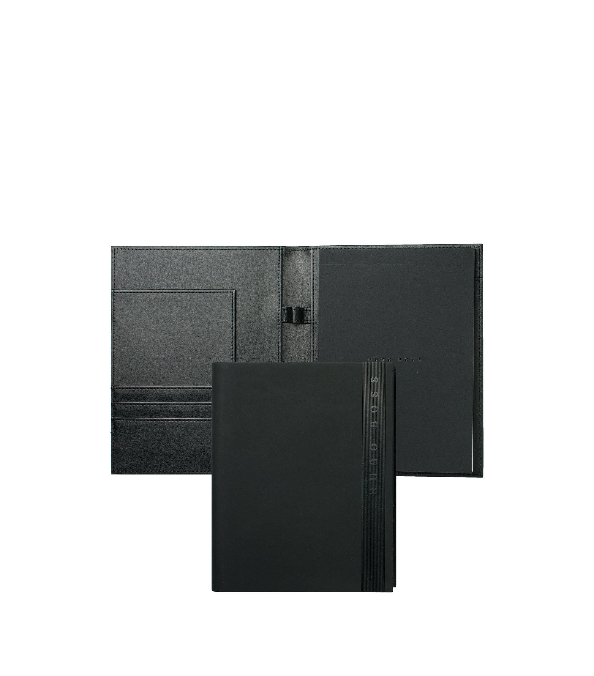 A5 folder in black faux leather, Black