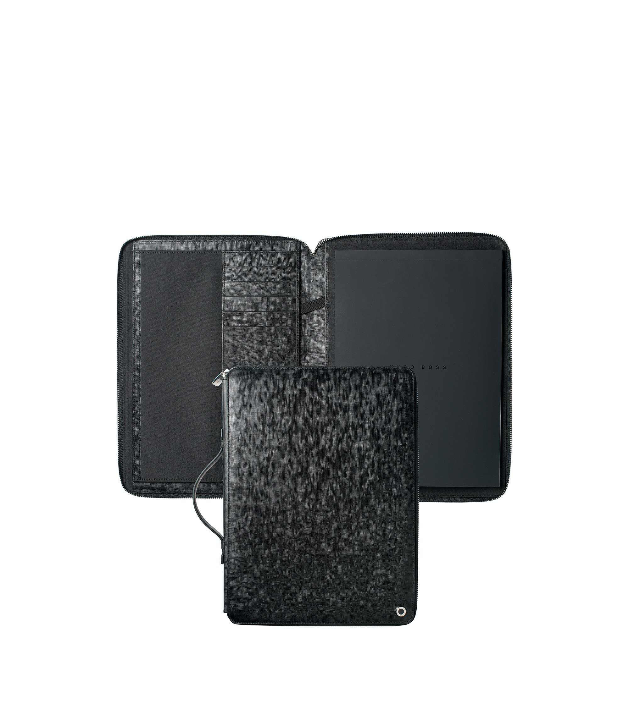 A4 ziparound folder in black textured leather, Black