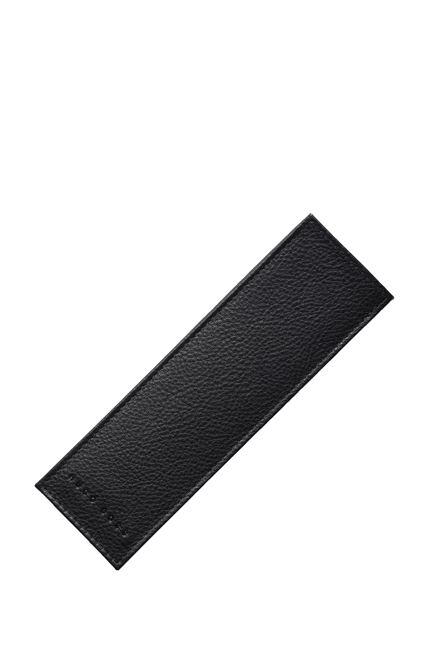 Pen case in black grained leather , Black