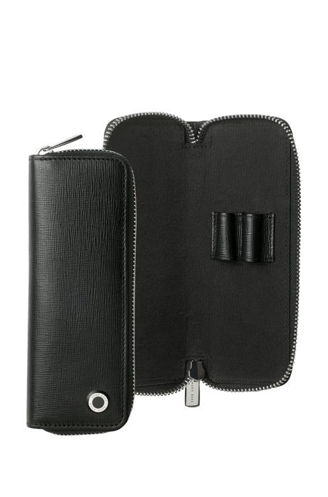 Textured-leather zipped pen pouch with branded hardware, Black