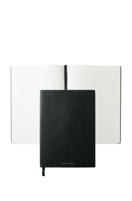 Black A4 notepad in faux leather with lined paper, Black