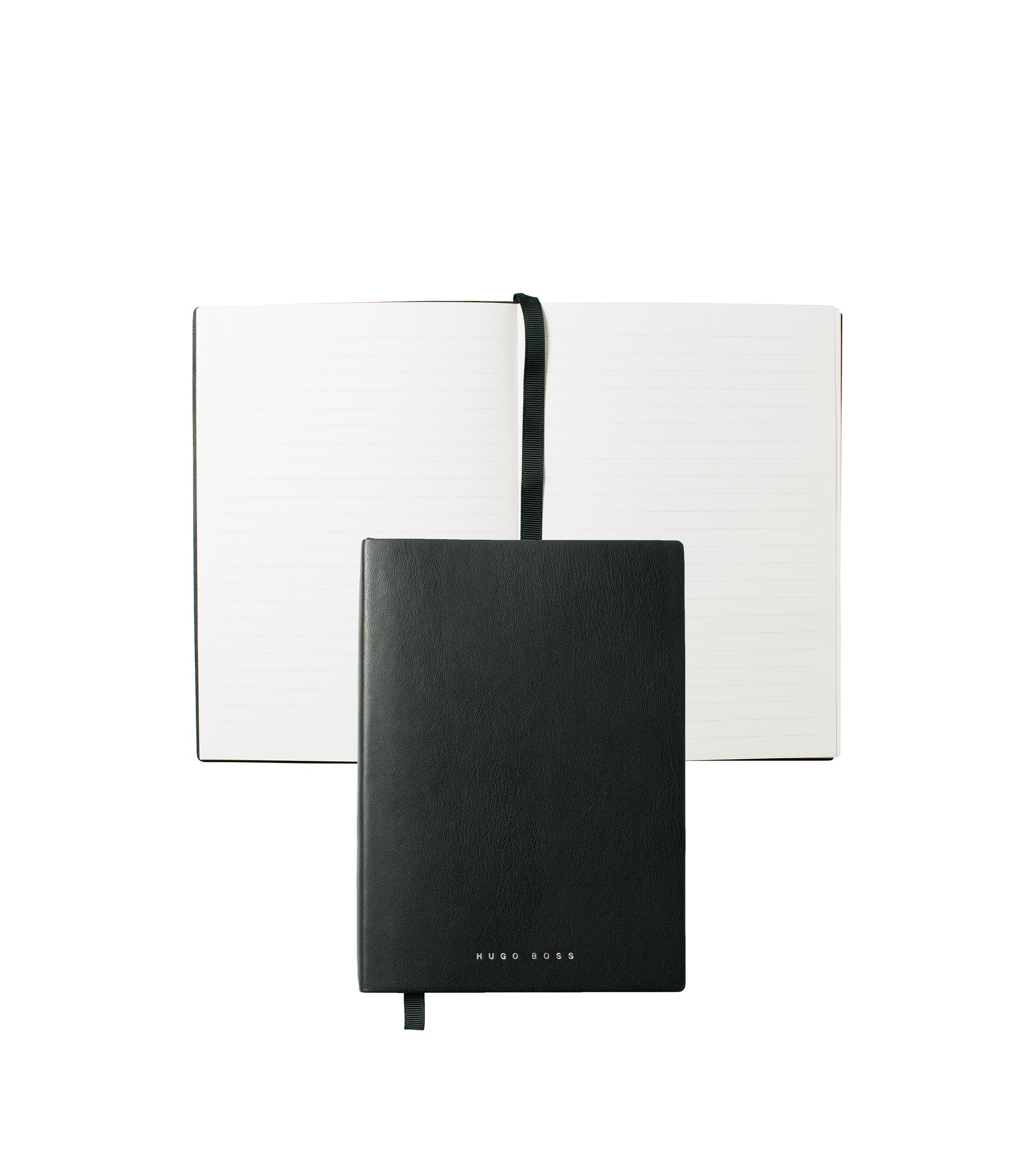 Black A5 notepad in faux leather with lined paper, Black