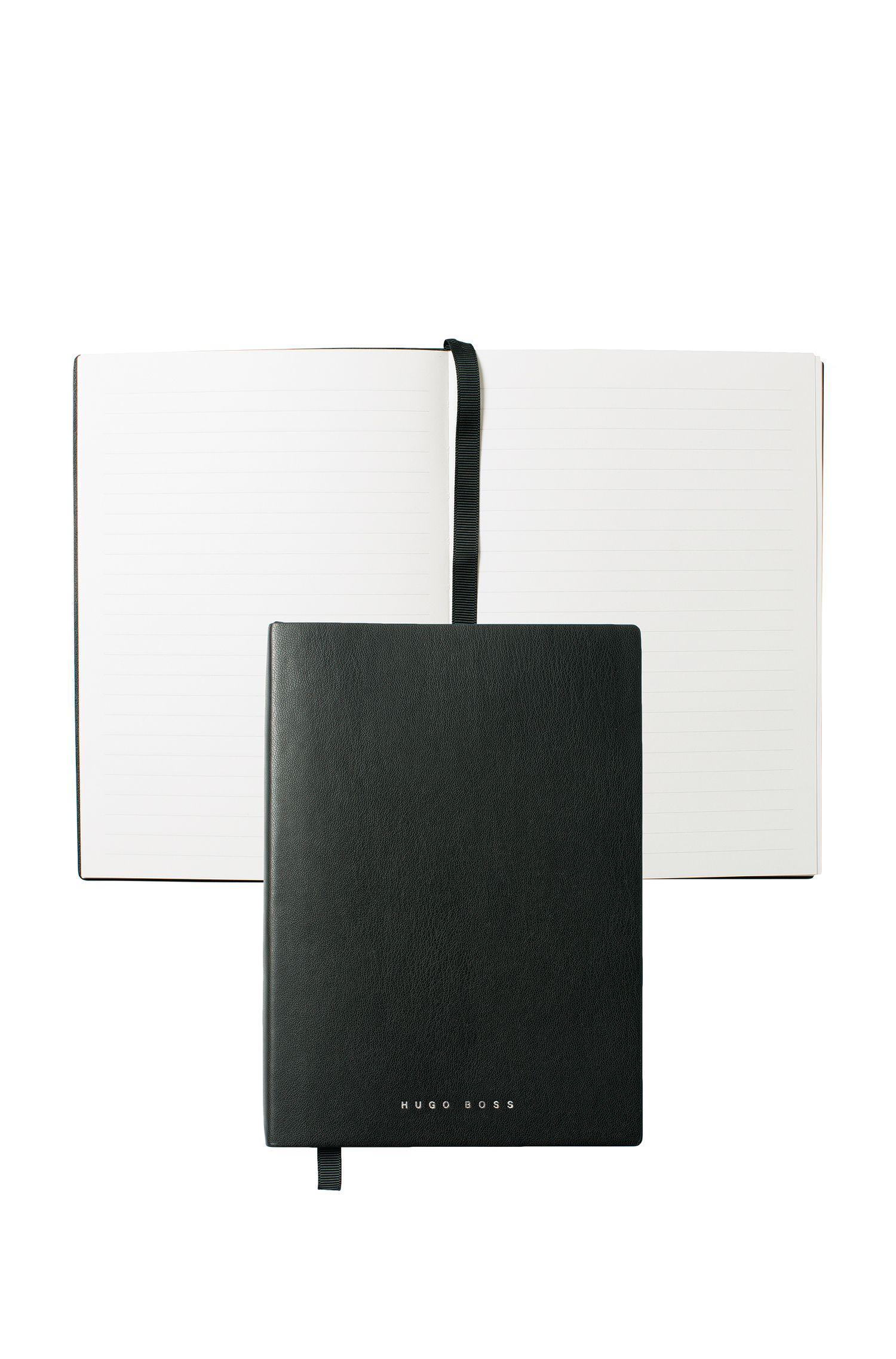 Cuaderno A5 negro en piel sintética con papel a rayas, Negro