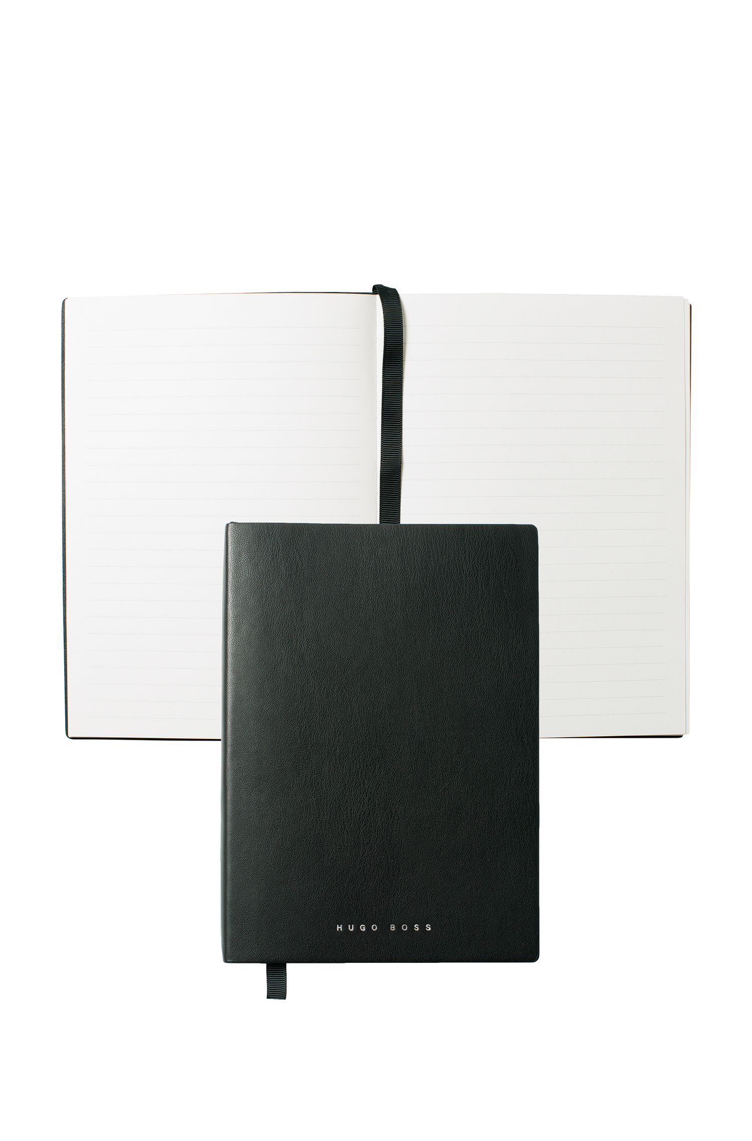 Black A5 notepad in faux leather with lined paper