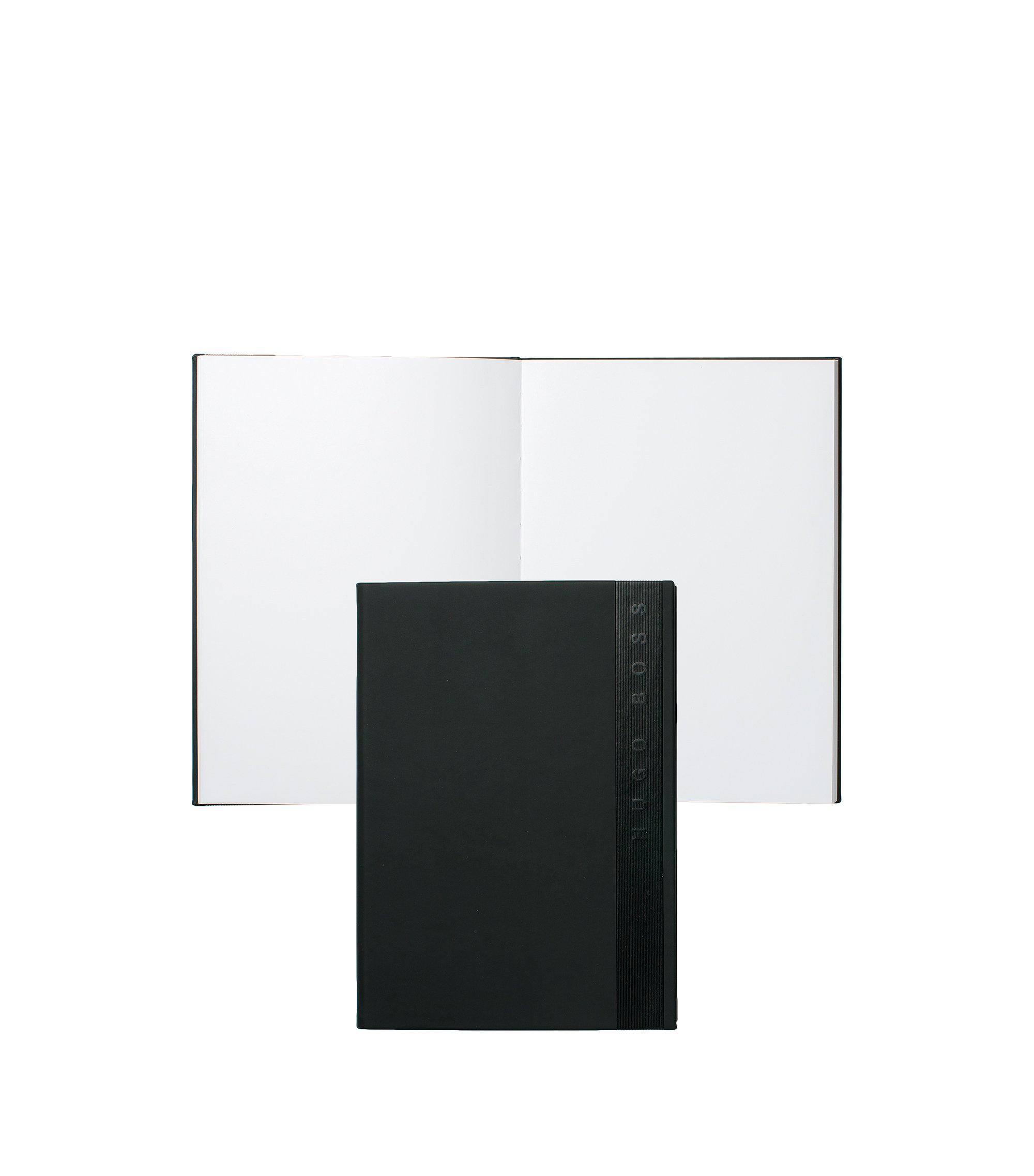A5 notepad in black faux leather with vertical logo, Black