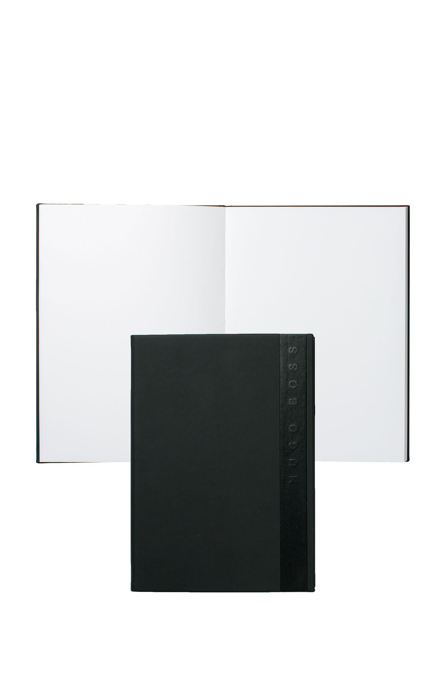 Taccuino A5 in similpelle nera con logo verticale, Nero