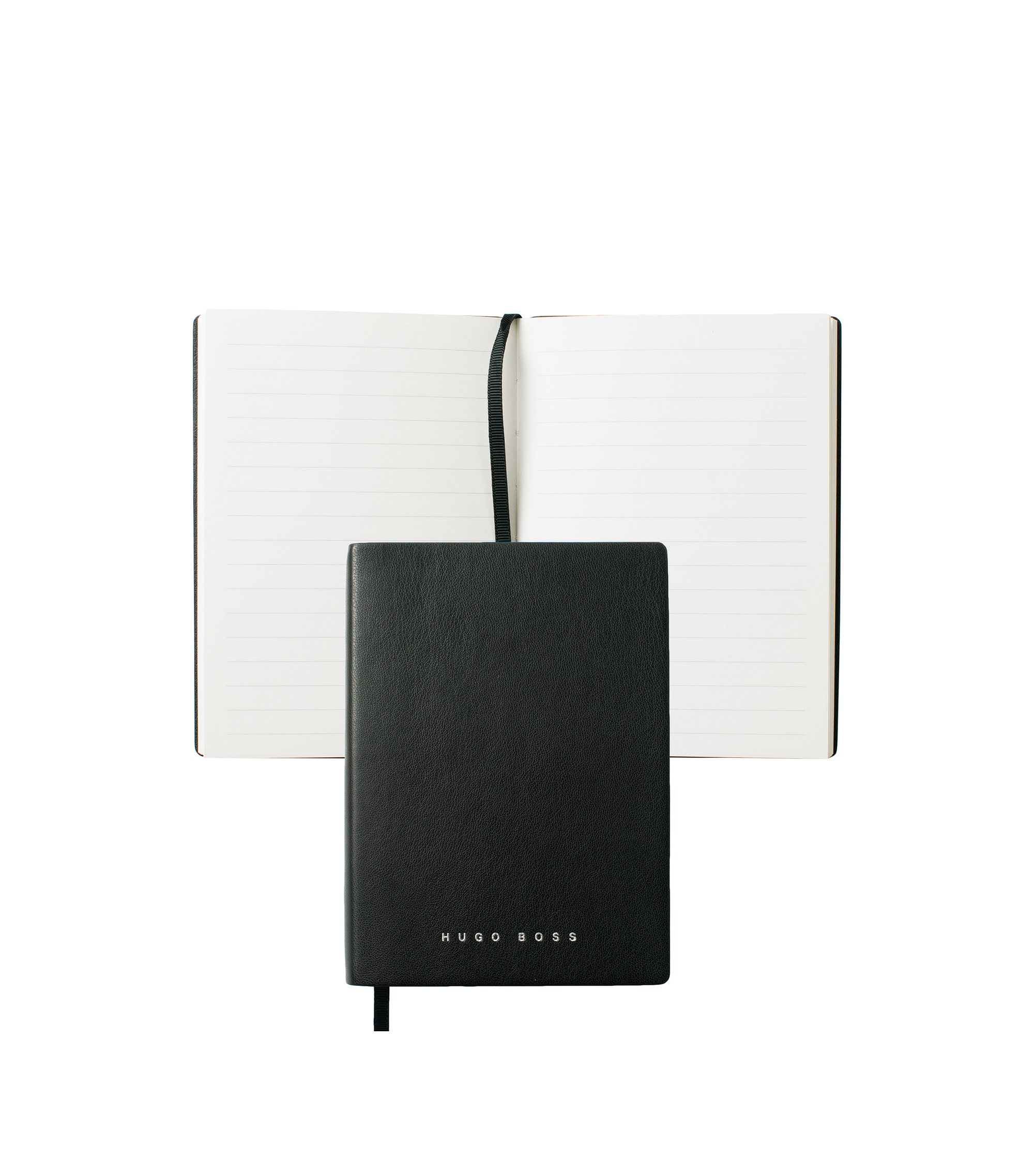Black A6 notepad in faux leather with lined paper, Black