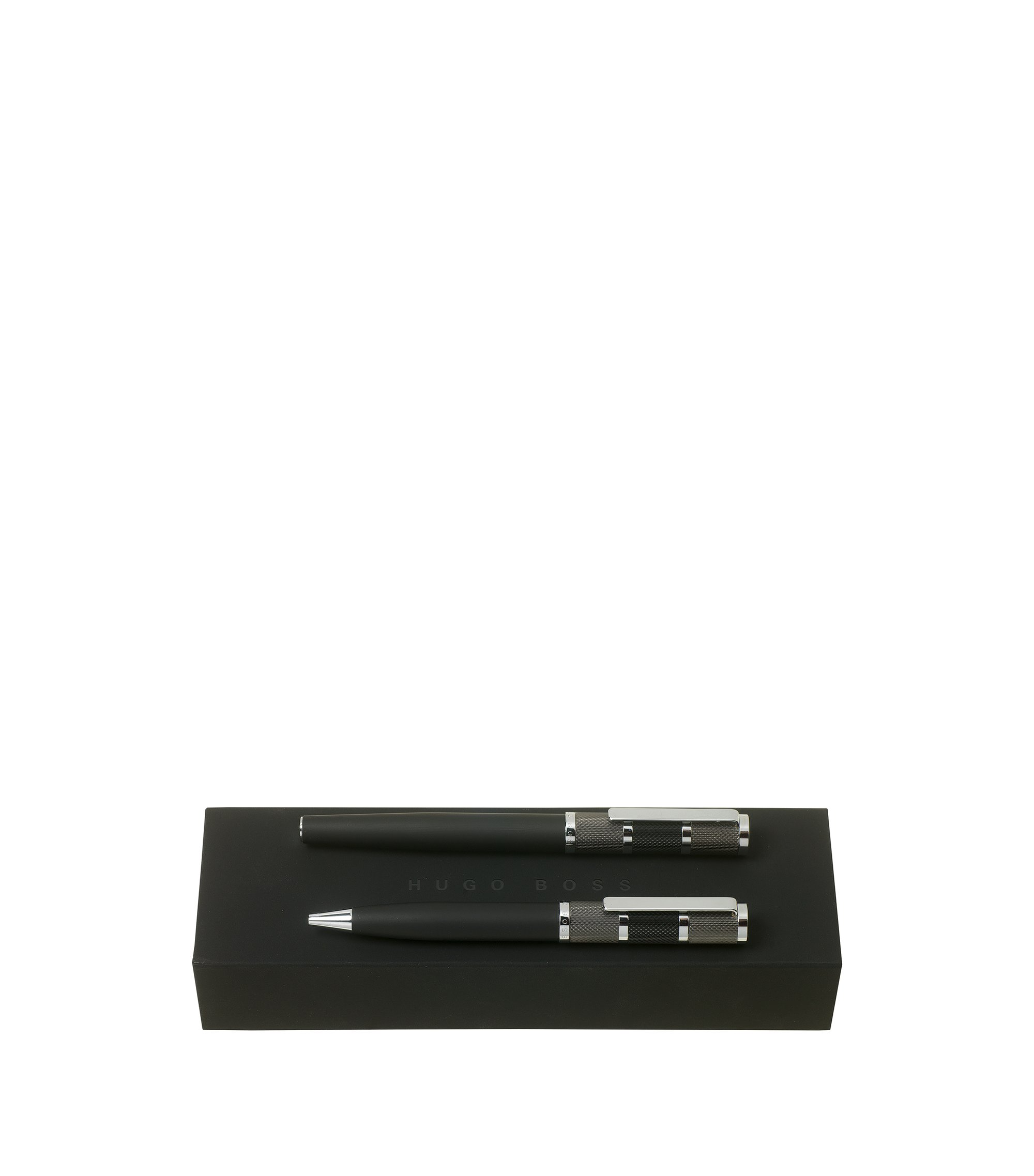Black ballpoint and rollerball pen set with textured caps, Black