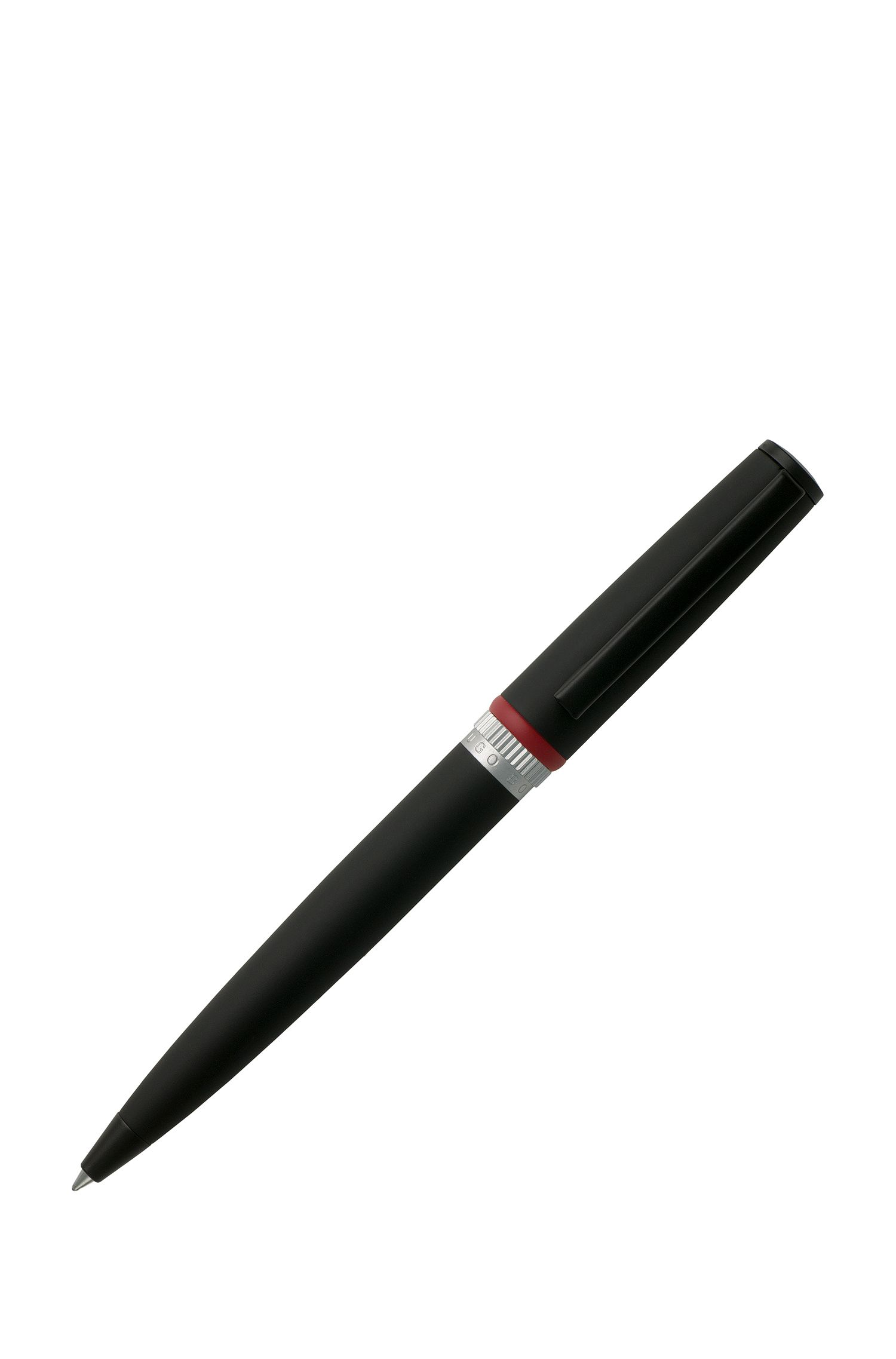 Ballpoint pen in matt black lacquer with red accents, Black