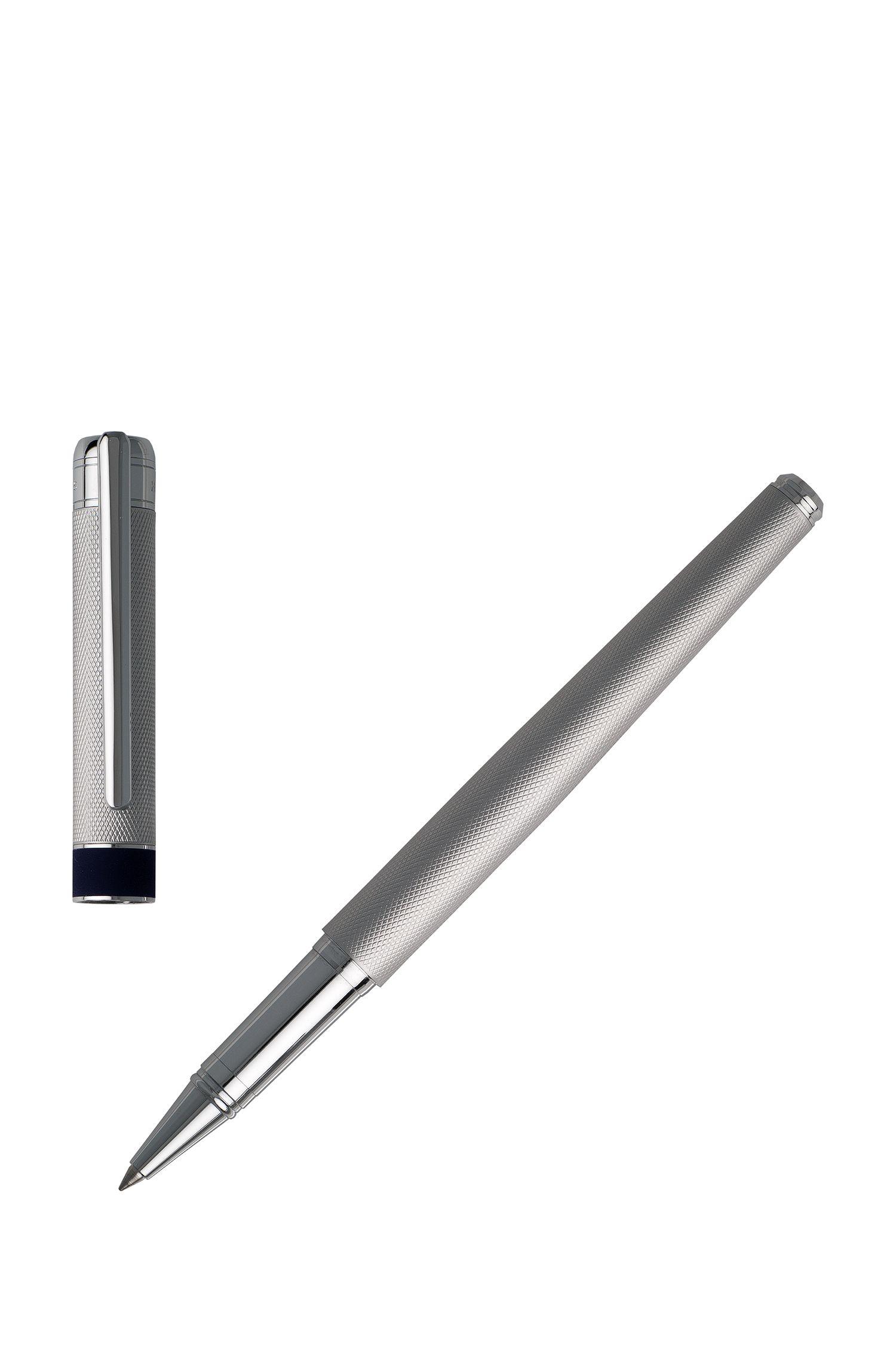 Penna a sfera metallizzata lavorata con anello centrale morbido al tatto, Argento