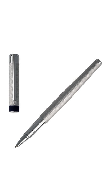 Textured metallic rollerball pen with soft-touch midring, Silver