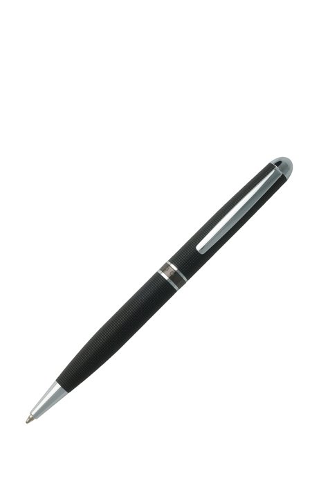 Black-chrome-plated ballpoint pen with engraved geometric pattern, Black