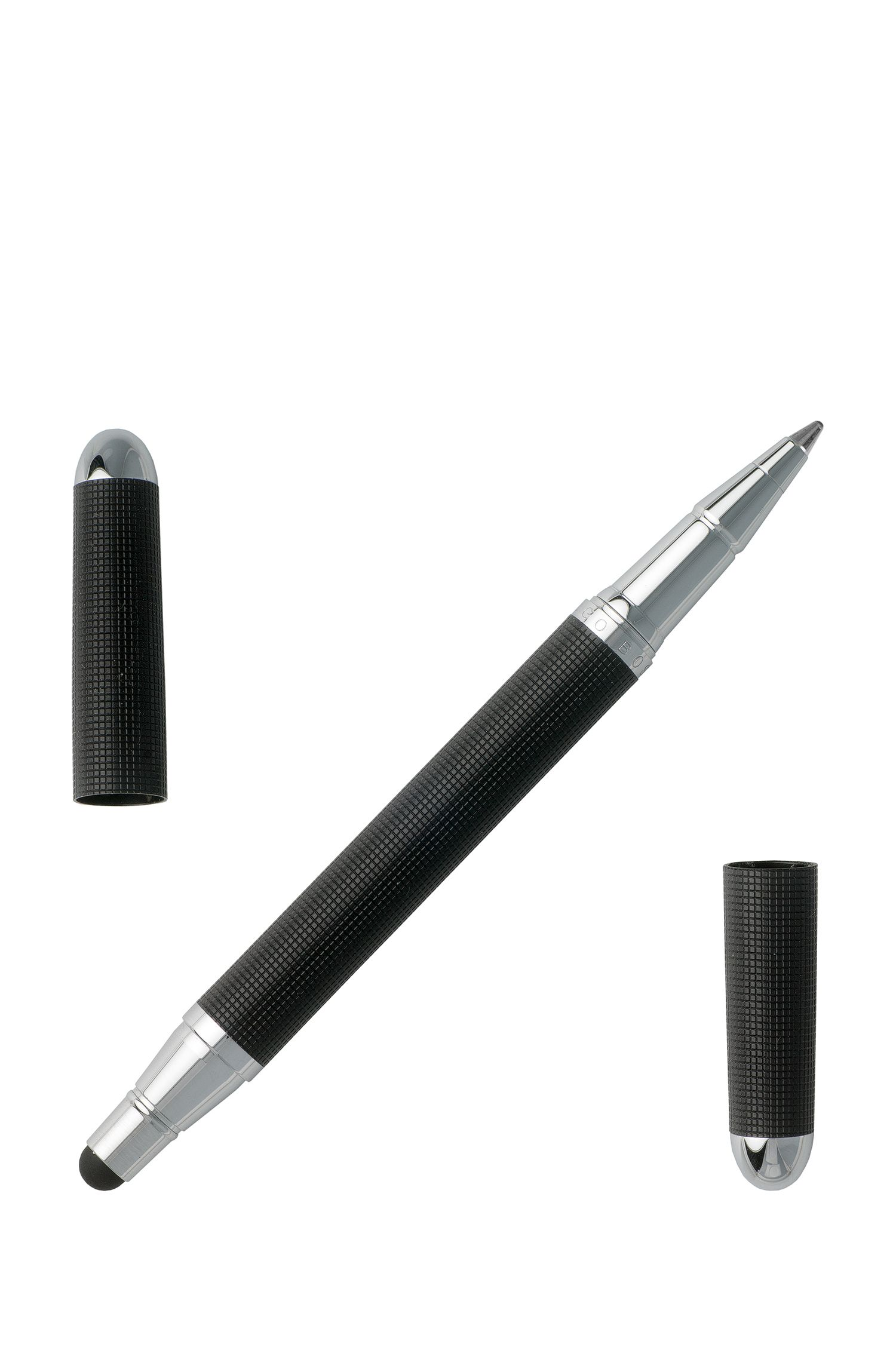 Clipless rollerball pen in black with stylus tip, Black