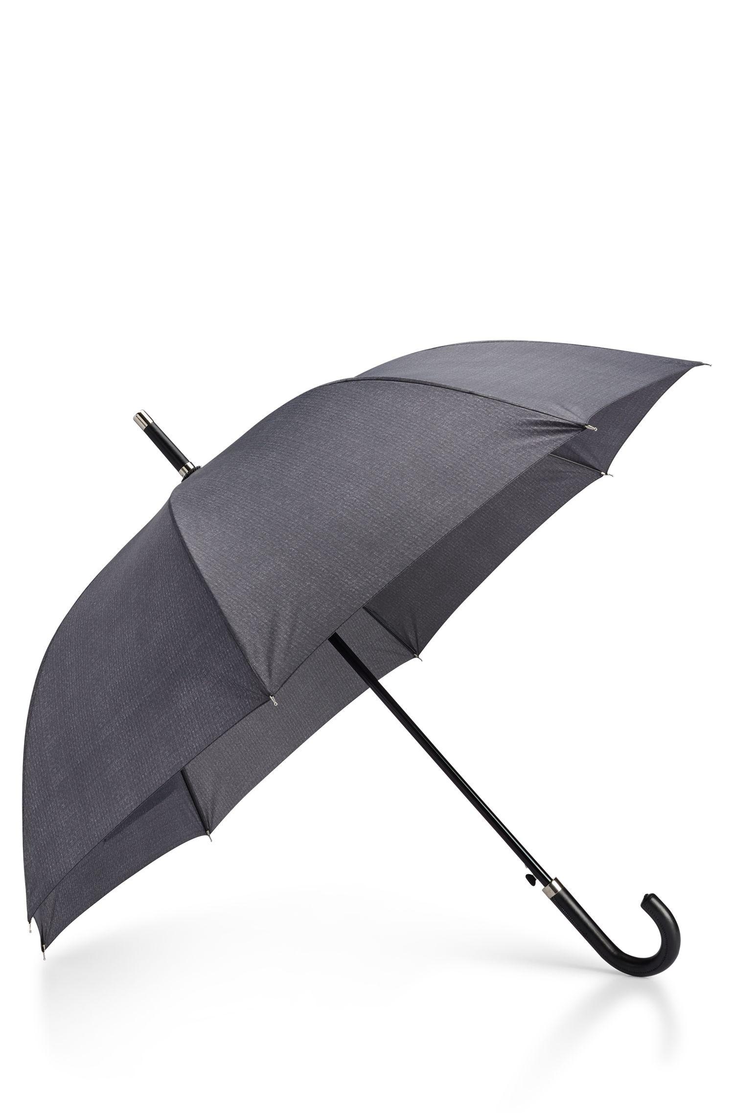 Paraplu met grijs dessin en haakhandvat van imitatieleer