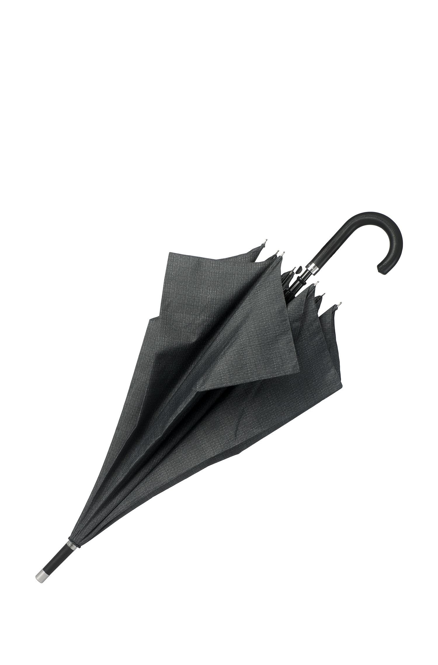 Grey patterned umbrella with faux-leather hook handle, Dark Grey
