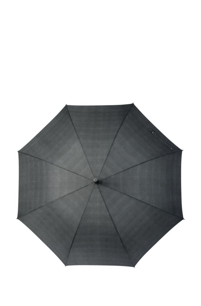 Grey patterned umbrella with faux-leather hook handle