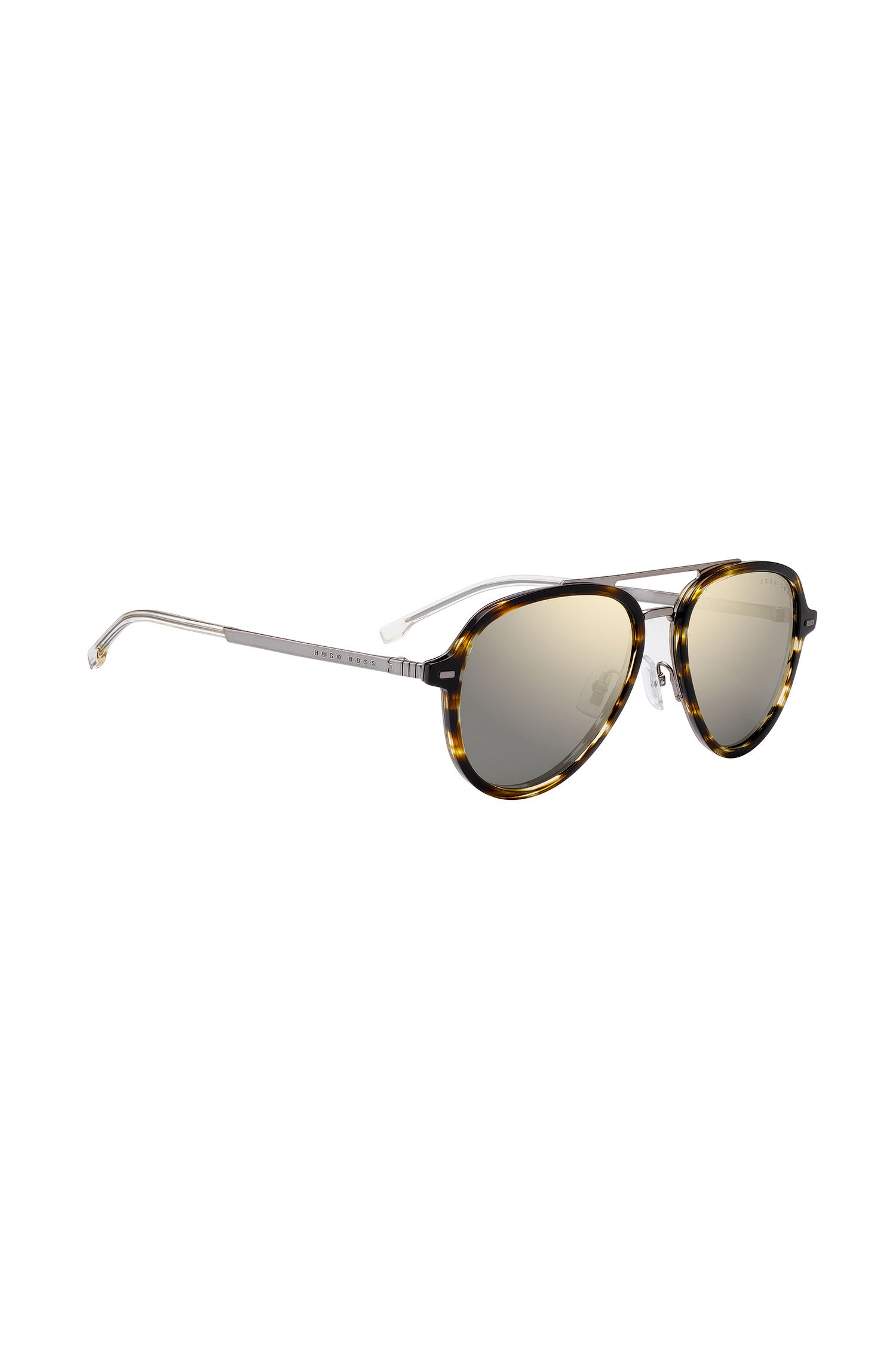 Brown horn aviator sunglasses in acetate and beta-titanium, Patterned