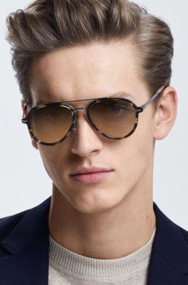 Y Gafas En Beta Concha Titanio Acetato Aviador Marrón De Sol 9WDIH2E