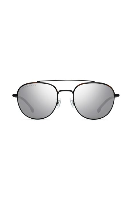 Double-bridge titanium sunglasses with havana acetate details, Schwarz
