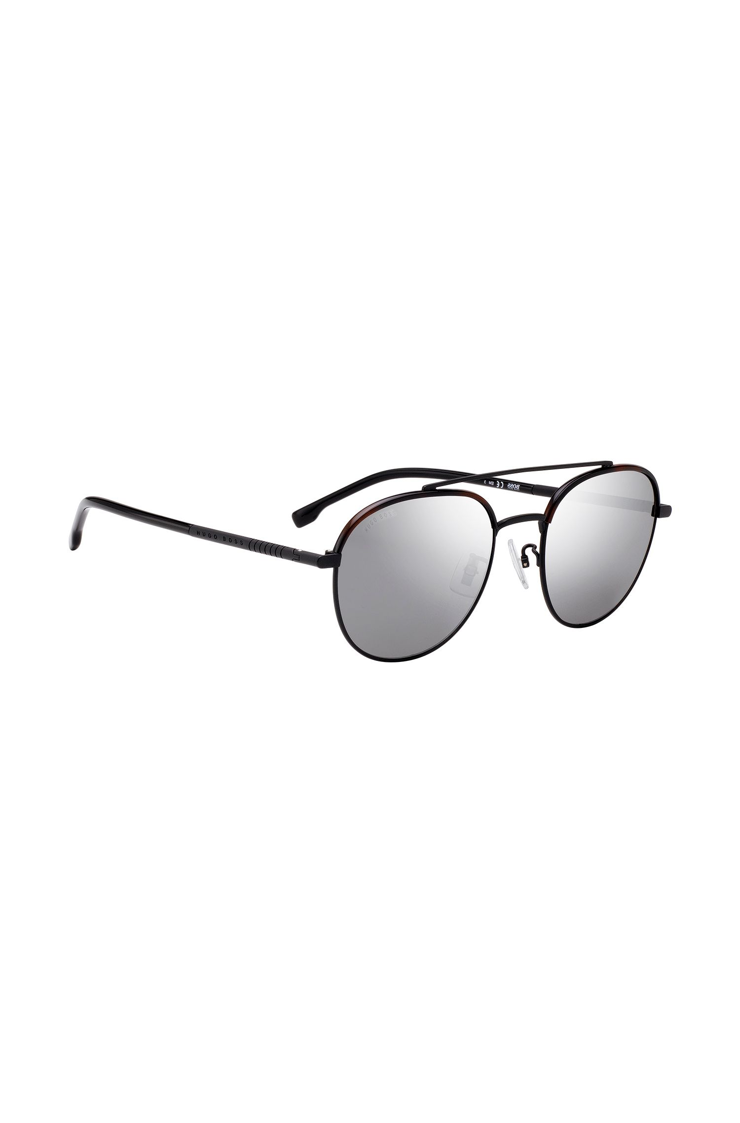 Double-bridge titanium sunglasses with havana acetate details, Black