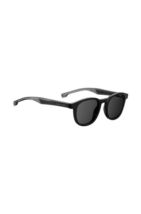 Acetate sunglasses with two-tone temples in Optyl, Black
