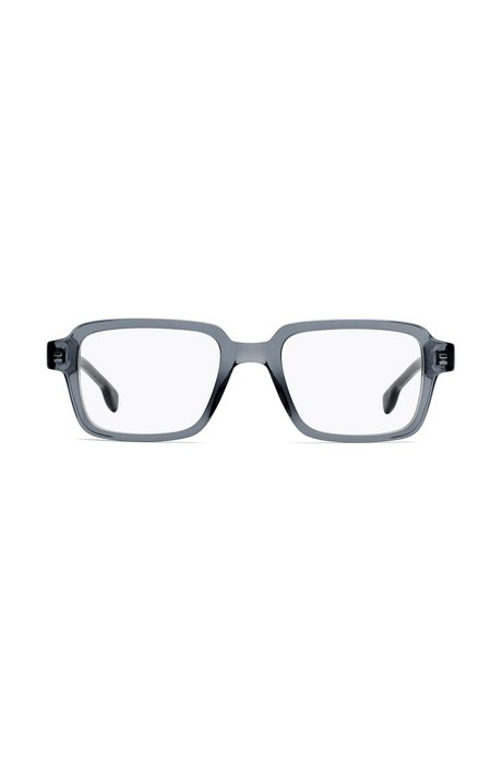 Retro-inspired optical glasses in transparent grey acetate, Grey