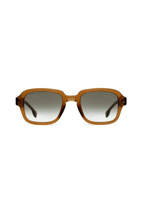 Square sunglasses in transparent brown acetate, Light Brown