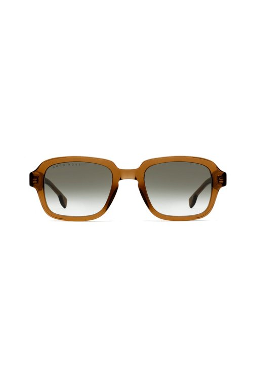 Hugo Boss - Square sunglasses in transparent brown acetate - 1
