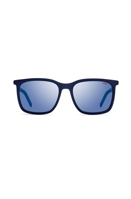 Eckige Sonnenbrille aus mehrlagigem Acetat, Dunkelblau