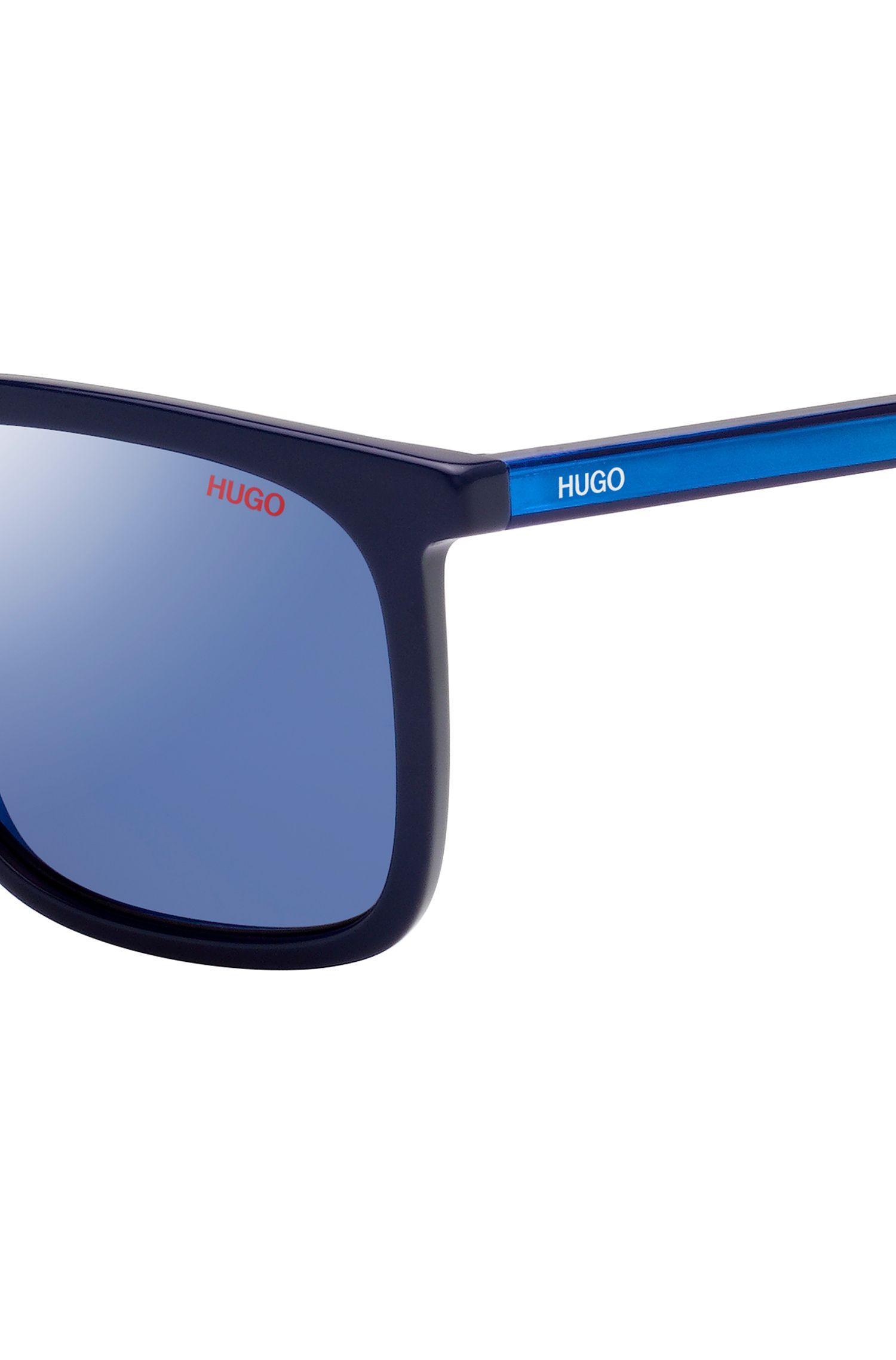 Square sunglasses with multi-layer acetate frames, Dark Blue