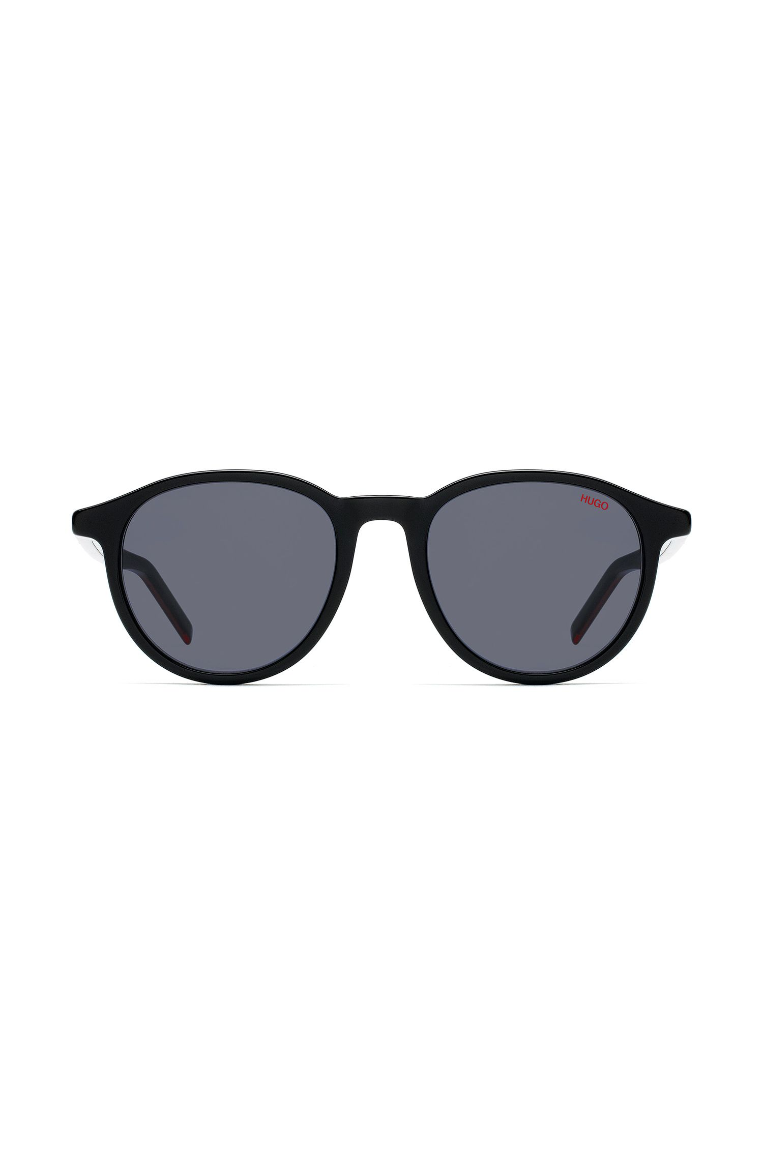 Unisex round sunglasses in multi-layer acetate, Schwarz