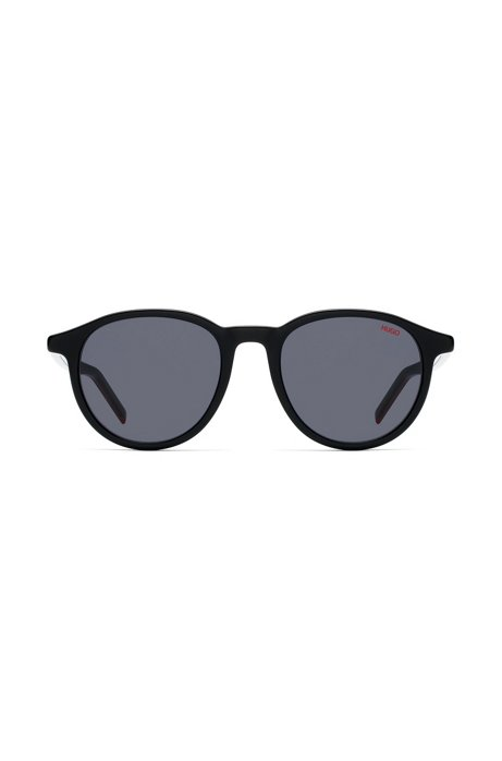 Unisex round sunglasses in multi-layer acetate, Black